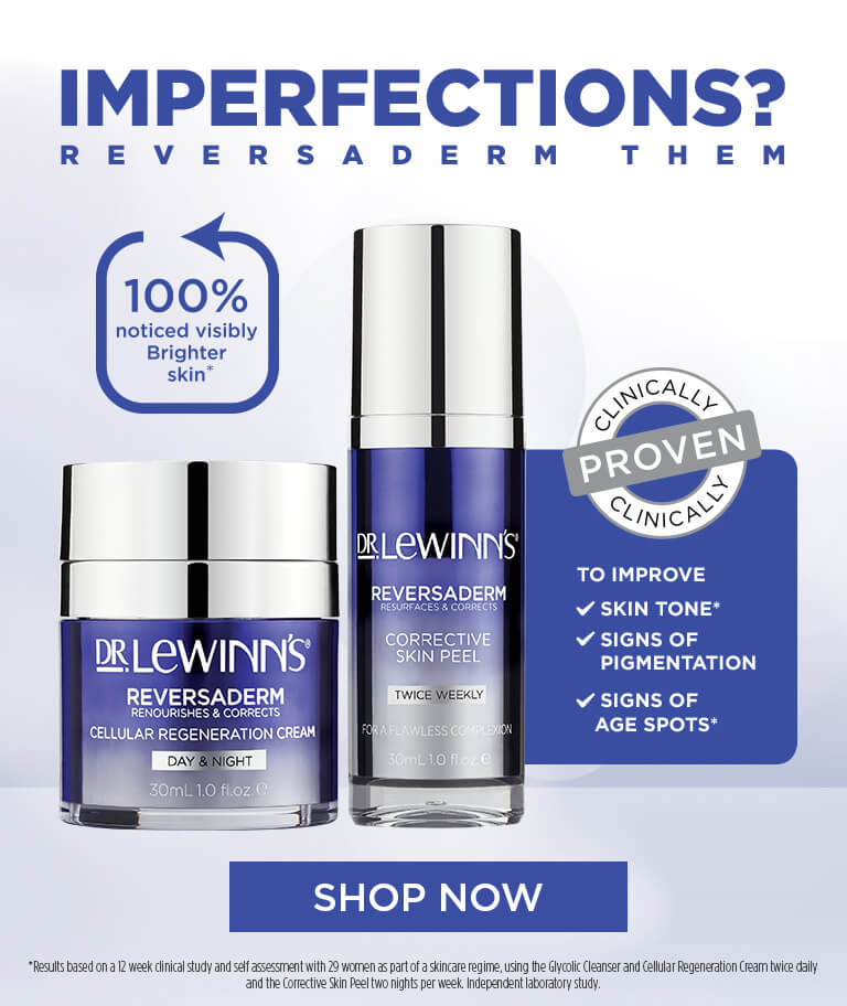 Imperfections? Reversaderm them. Clinically proven to improve skin tone, signs of pigmentation, signs of age spots.